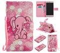 2016 nuevo pink elephant para huawei p8 p9/lite caso patrón de cuero de la pu soporte de la carpeta cubierta de la caja del teléfono del tirón ranura para tarjeta