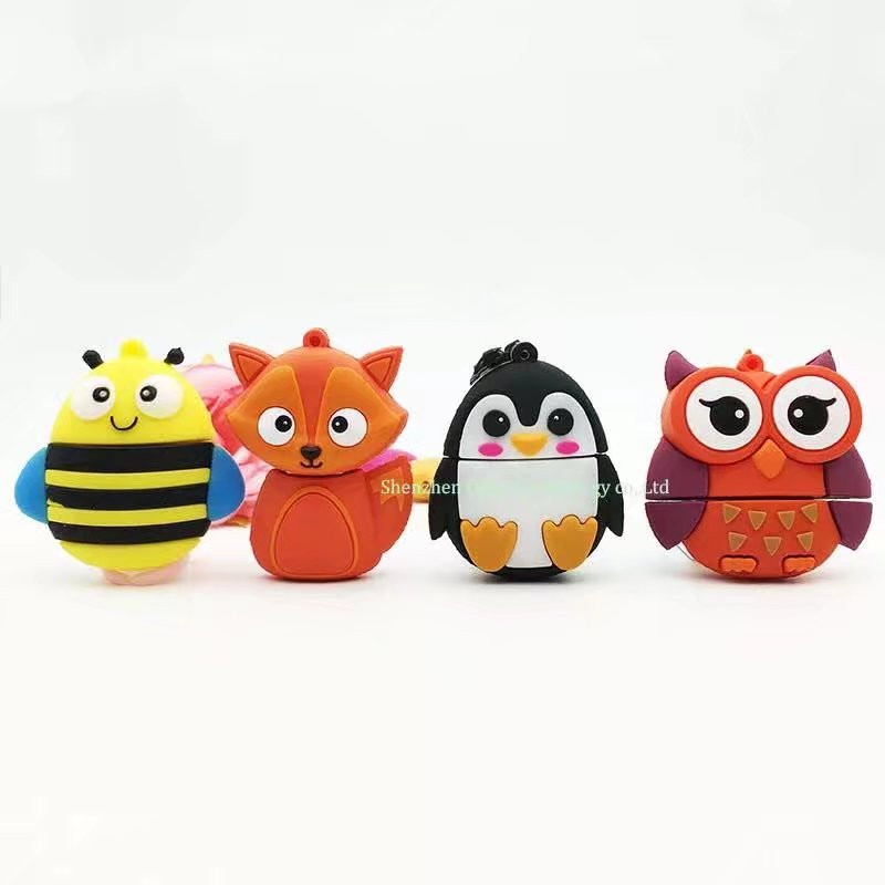 New style Cute bee penguin Fox Usb 2.0 Usb Flash Drive 4GB 8GB flash card16GB 32GB 64GB fox Pendrives real capacity Memory stick ...