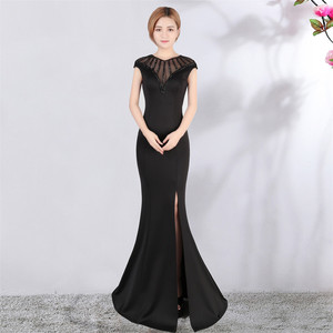 Image 4 - Its Yiiya Evening dress V neck Short sleeves Beading Party gowns Sexy Floor length zipper back Formal Mermaid Prom dresses C174