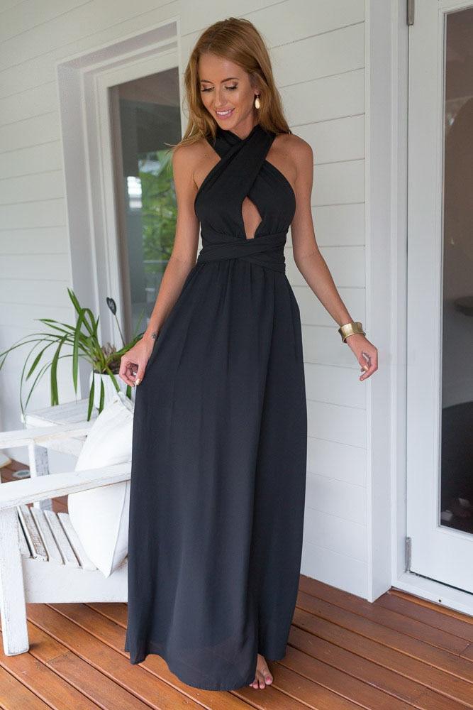 1114611f4c93b US $19.28 |Women Summer Sleeveless Long Club Dresses Evening Light Blue  Black Perfect Date Maxi Dress LJ60138 Free Shipping-in Dresses from Women's  ...