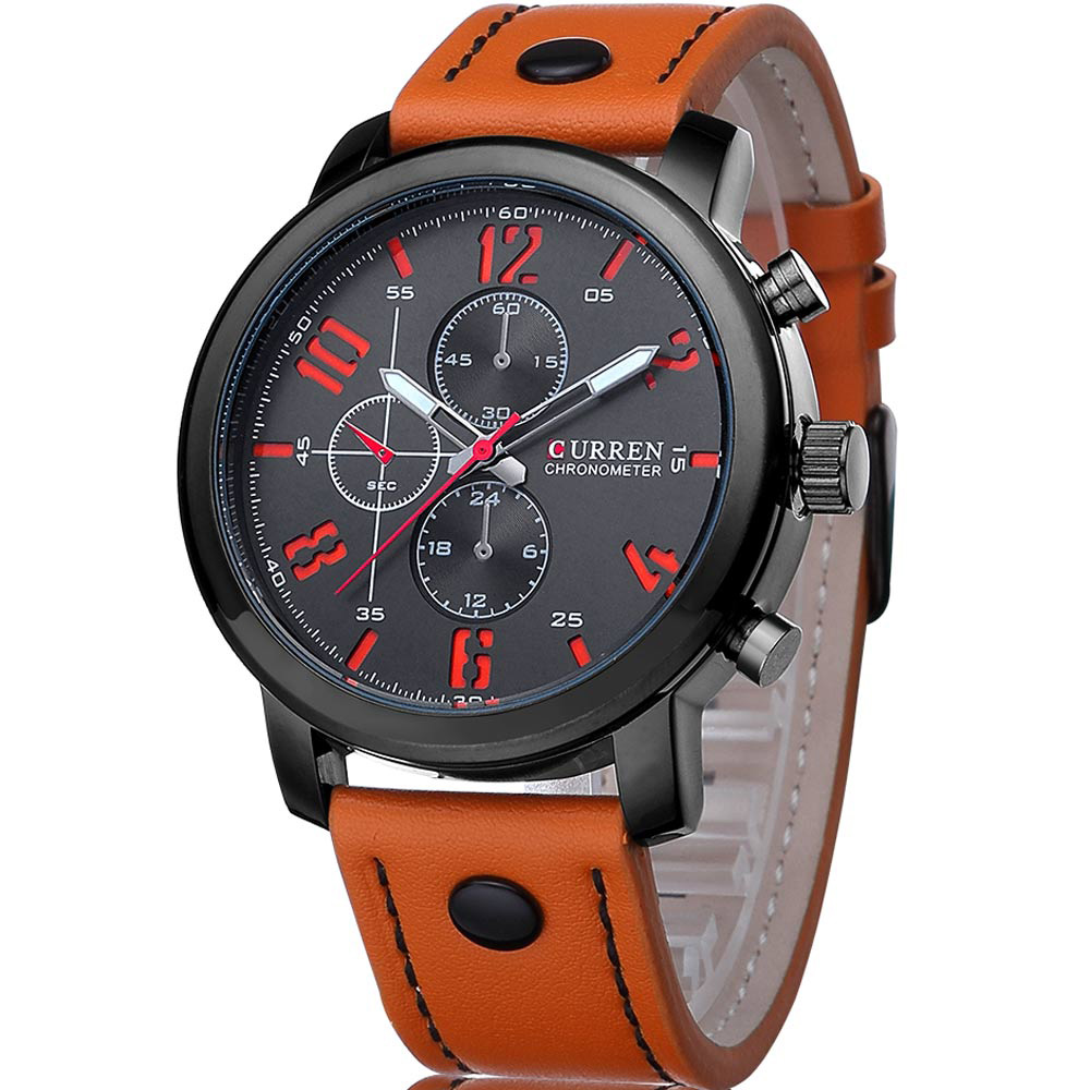 CURREN Luxury Brand Man Watches Fashion Casual Quartz Watch Leather Strap Men Sport Wristwatch Clock Male Relogio Masculino 8192 oulm brand men s fashion casual sport watches men big dial quartz watch leather male fashion wristwatch clock relogio masculino