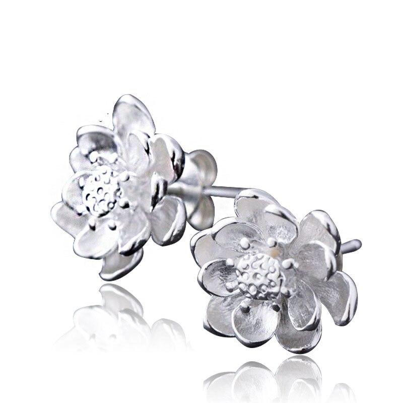 67c157195f43 Las mujeres elegantes de JEXXI 925 pendientes de plata esterlina alta  calidad cúbicos Zircon flor diseño pendientes joyas al por mayor