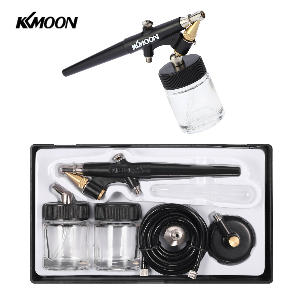 <font><b>KKmoon</b></font> 0.8mm Spray Paint Gun Mini <font><b>Airbrush</b></font> <font><b>compressor</b></font> kit Single Action <font><b>Airbrush</b></font> Sandblaster for body Makeup Tattoo car Manicure image