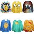 Adorável Bonito Adventure Time Jake The Dog Mulheres Camisola Sportsuits fatos de Treino Outono Inverno Blusas de Exercício Roupas Kawaii