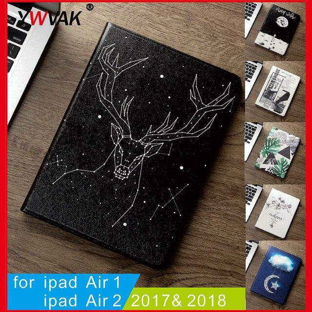 Ốp lưng Dành Cho New 2017 2018 iPad 9.7 inch Air Air 2 1 chất lượng cao cấp Silicone Mềm Mại với Tự Động Đánh thức /Chức Năng ngủ Đứng Bao Da Thông Minh