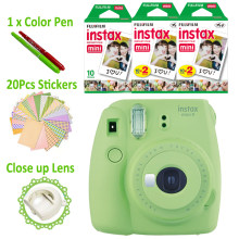 Lime Green Fujifilm Instax Mini 9 Instant Camera + 50 Photos Fuji Instant Mini 8 White Frame Film + Free 20pcs Stickers & Pen(Hong Kong,China)