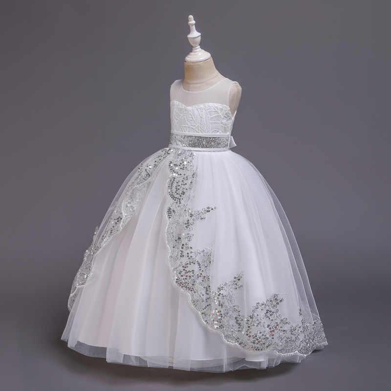 高品質のウェディングティーンスパンコールレースのためエレガントな誕生日パーティードレスガールのドレス初聖体 4-14y