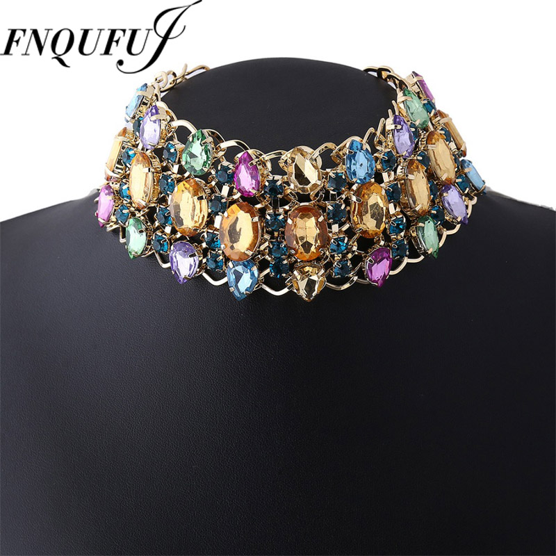 Rhinestone Choker Necklace 2017 Bib Statement Necklace For women Luxury big Chunky Necklace Collar Maxi jewelry benyar watch mens luxury brand quartz blue watches fashion business male leather wristwatch waterproof clock relogio masculino