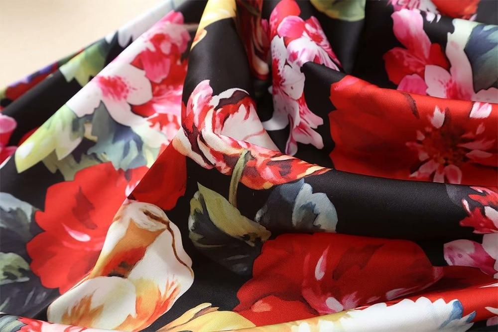 2019 H6448 Manga Ol cuello Mujeres Trabajo Flor Cintura Verano Alta Impresión Show As Elegante Ajustado O Larga Vestido Primavera De q0w6Tx0v