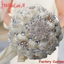 Najlepiej sprzedający się kremowy kolor kości słoniowej broszka bukiet ślubny bukiet de mariage poliestrowe bukiety ślubne perły kwiaty buque de noiva PL001