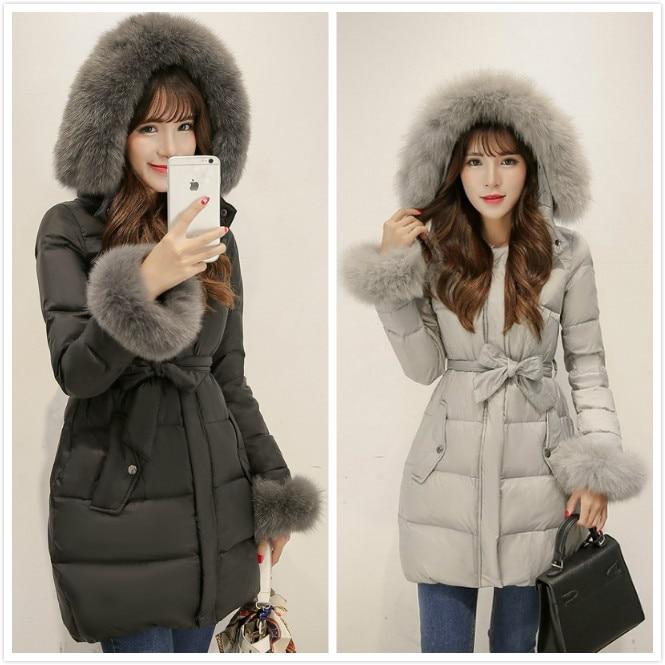 2015  New Korean Long Thick White Goose Down Fur Collar  Winter Jacket Women Pink Female Plus Size  Coat