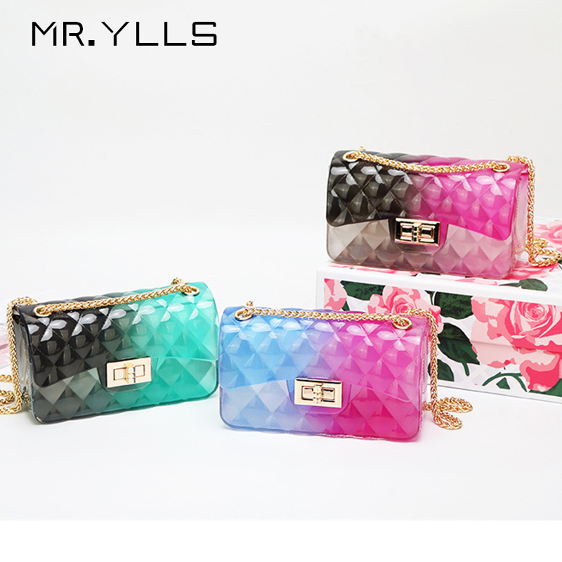 Lady Handbag Jelly-Bag Clutch Crossbody-Bag Lingge-Chain Clear Gradient Candy-Color Transparent