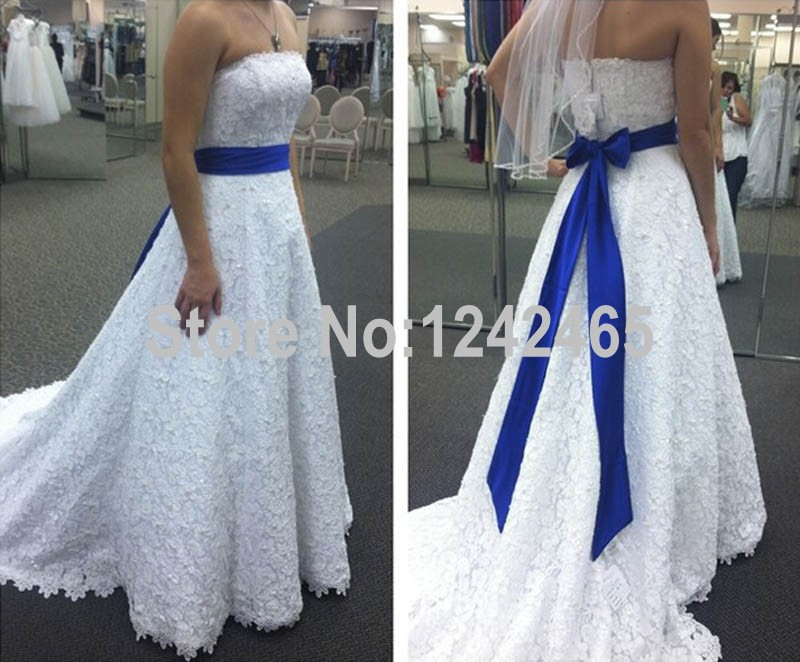 Online buy wholesale royal blue and white wedding dress for Royal blue and white wedding dresses