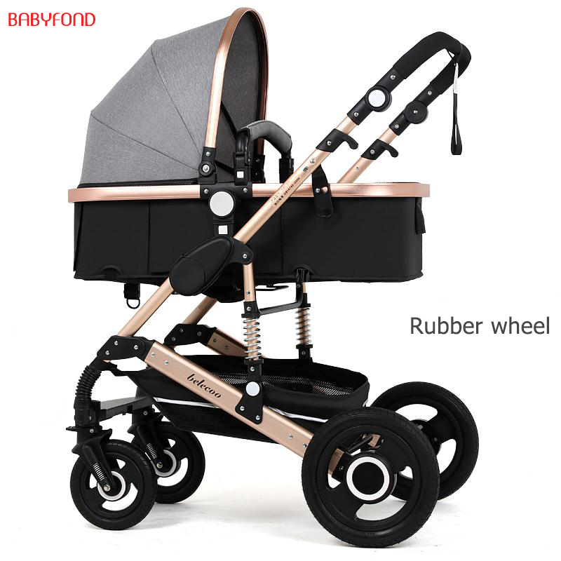 brand 2 in 1 baby stroller  High Landscape Baby Stroller Can Sit Lying Folding Two-way Four Wheel Shock Proof Baby Cart belecoo high landscape suspension stroller four wheel two way light folding sit lie baby cart