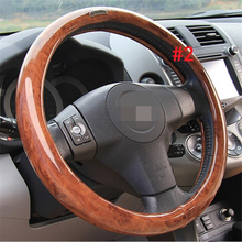 Wooden decotation universal size high quality car steering wheel cover 15 Inch Genuine Leather Wood Grain Steering Cover