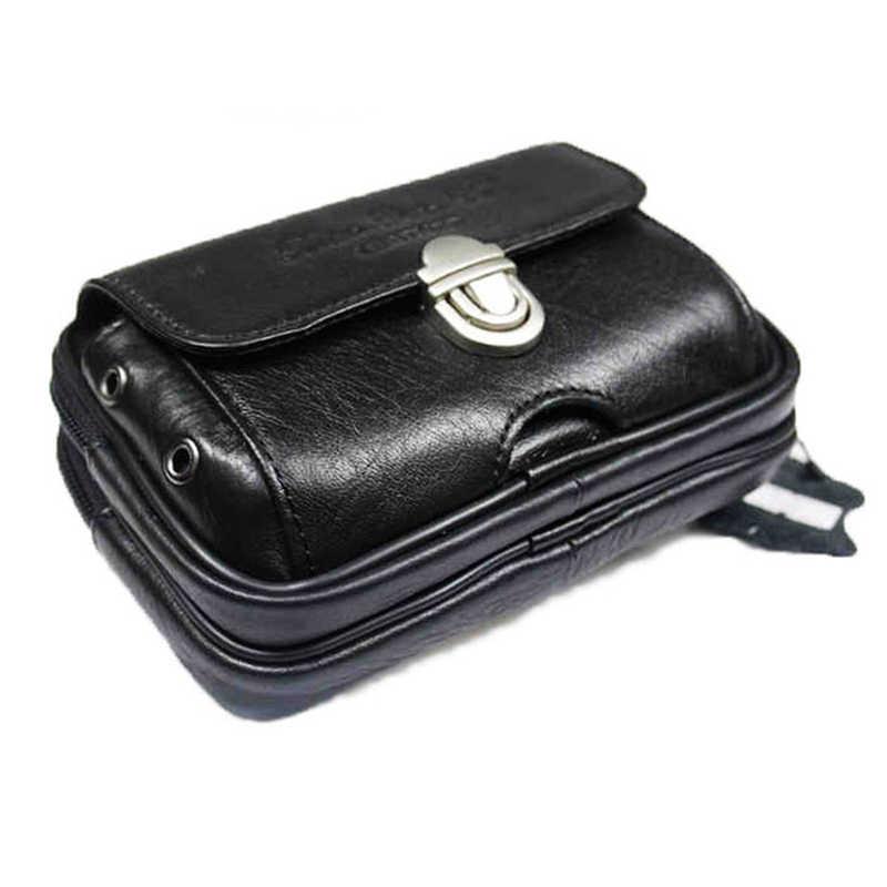 高品質本革ウエストバッグメンズベルト財布トレンドヒップボムミニリアル牛革携帯携帯/電話ケースポーチファニーパック