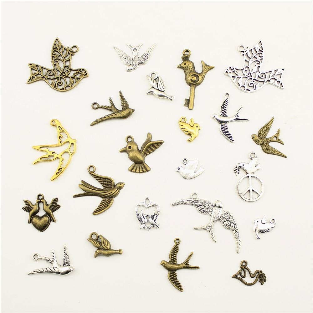 10 pçs jóias fêmea animal pássaro engolir paz pombo charme diy jóias acessórios charme diy acessórios