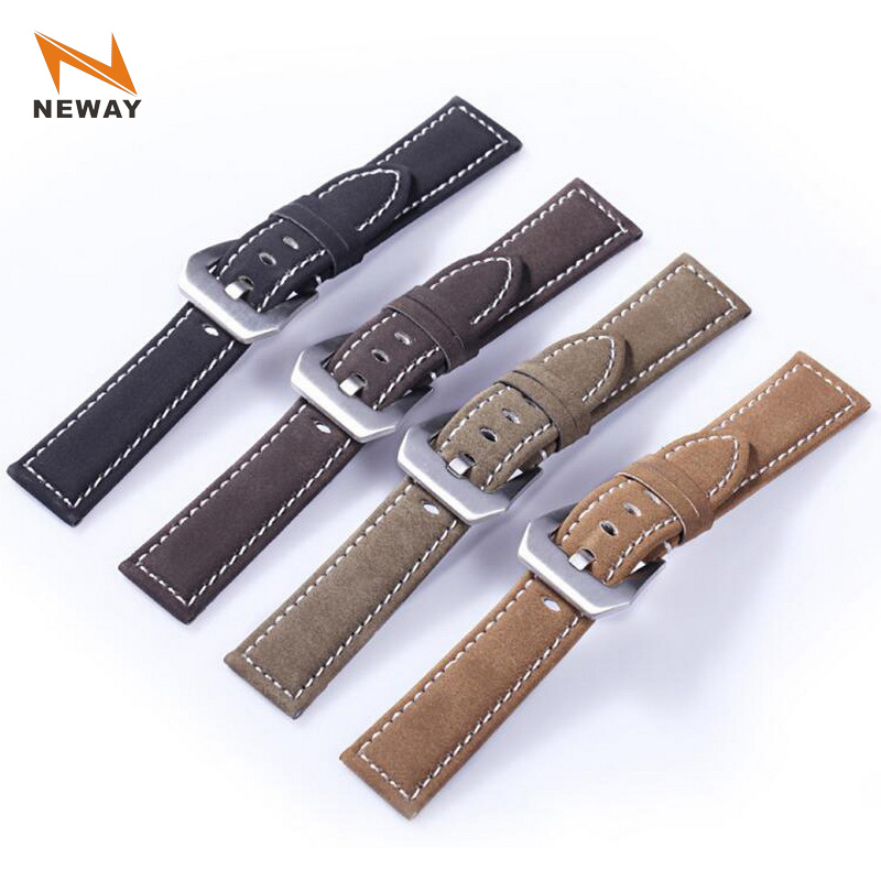 neway Frosted Cowhide Leather Watch Band Wrist Strap 316L Steel Buckle 18mm 20mm 22mm 24mm Replacement Bracelet Belt Black Brown