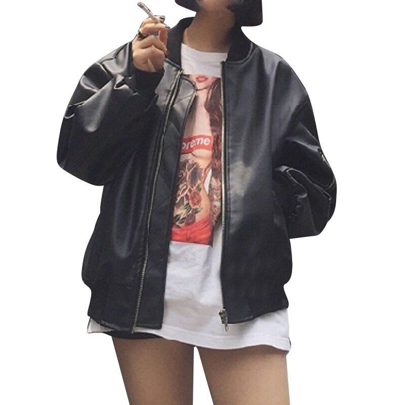 22a402168 2017 New Autumn Fashion Streetwear Leather Coat Women Kpop Black ...