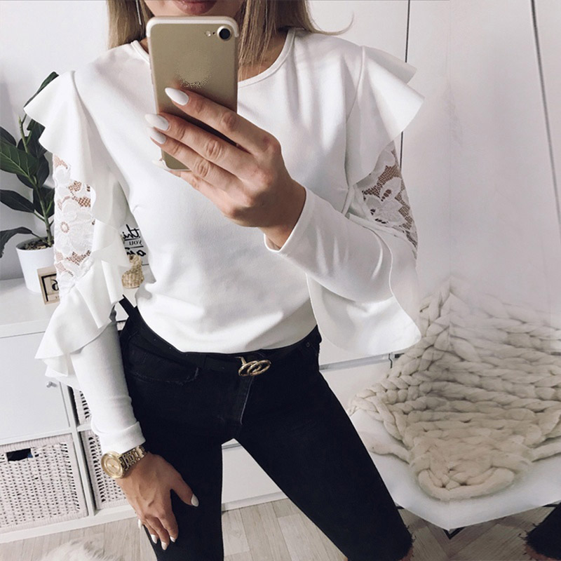 Ruffle Lace Blouse Shirt Women Long Sleeve Floral White Blouses Female Tops Solid Elegant Fashion Blouse Shirts Blusas femme