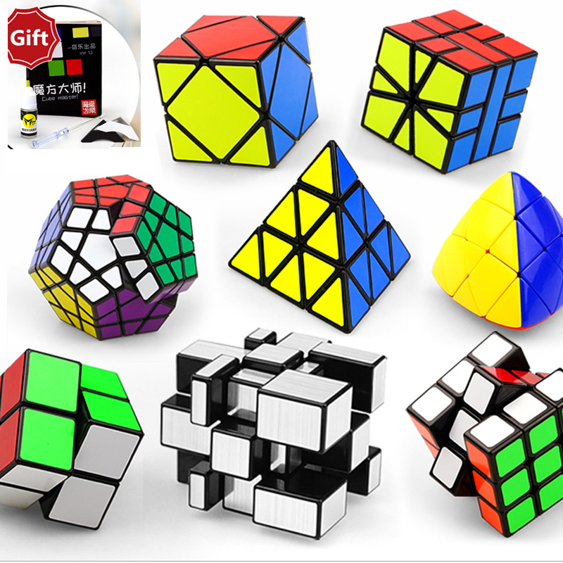 цены 8 PCS Magic Speed Cube 2x2x2 3x3x3 Pyraminx Puzzle Speed Cube SQ1 Skew Cubo Educational Learning Toys For Child Christmas Gifts