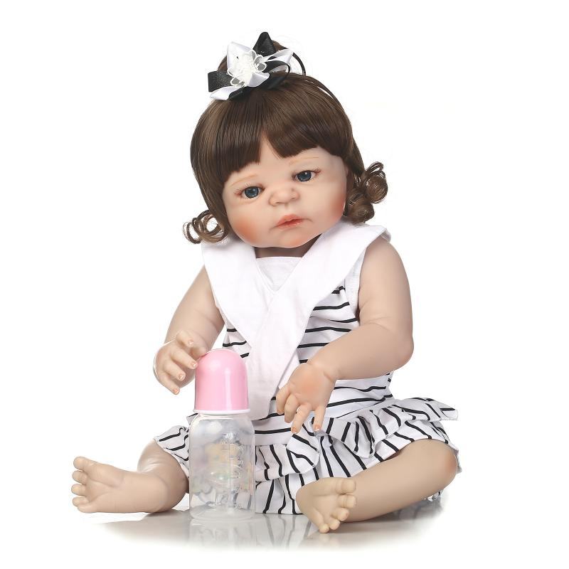 Nicery 22inch 55cm Bebe Reborn Doll Hard Silicone Boy Girl Toy Reborn Baby Doll Gift for child Black stripes Lovely Baby Doll nicery 22inch 55cm bebe reborn doll hard silicone boy girl toy reborn baby doll gift for children purple princess hat baby doll