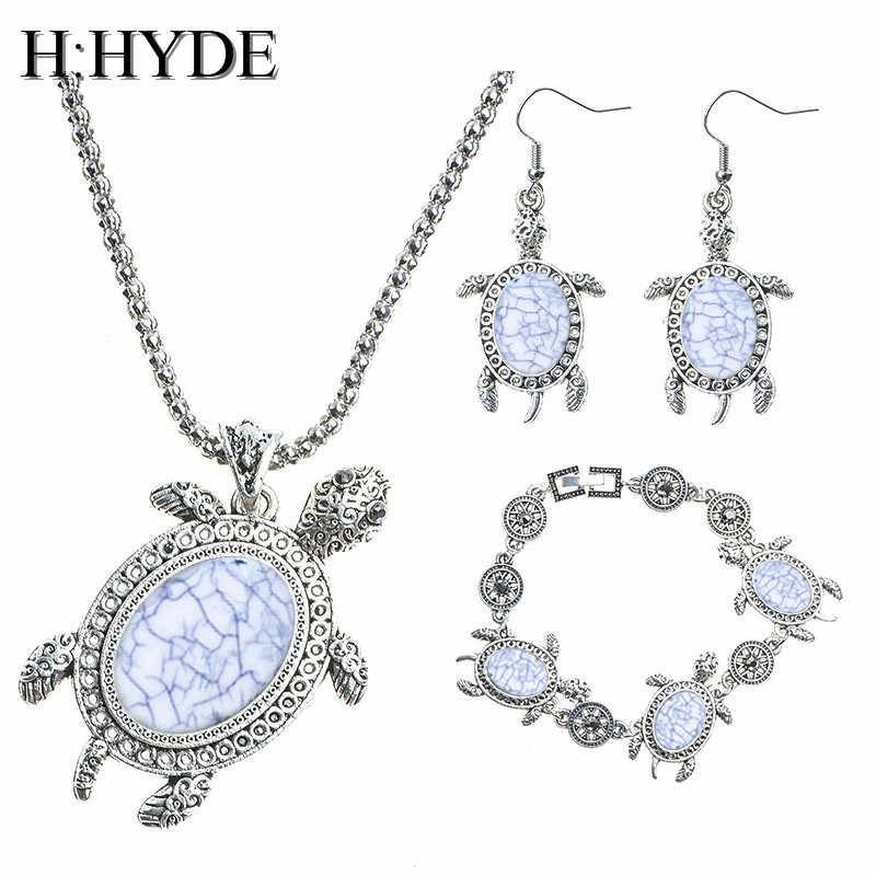 H:HYDE classic pretty Green Natural Stone tortoise shape jewelry set for women necklace/ bracelet /earrings Mix Options jewelry