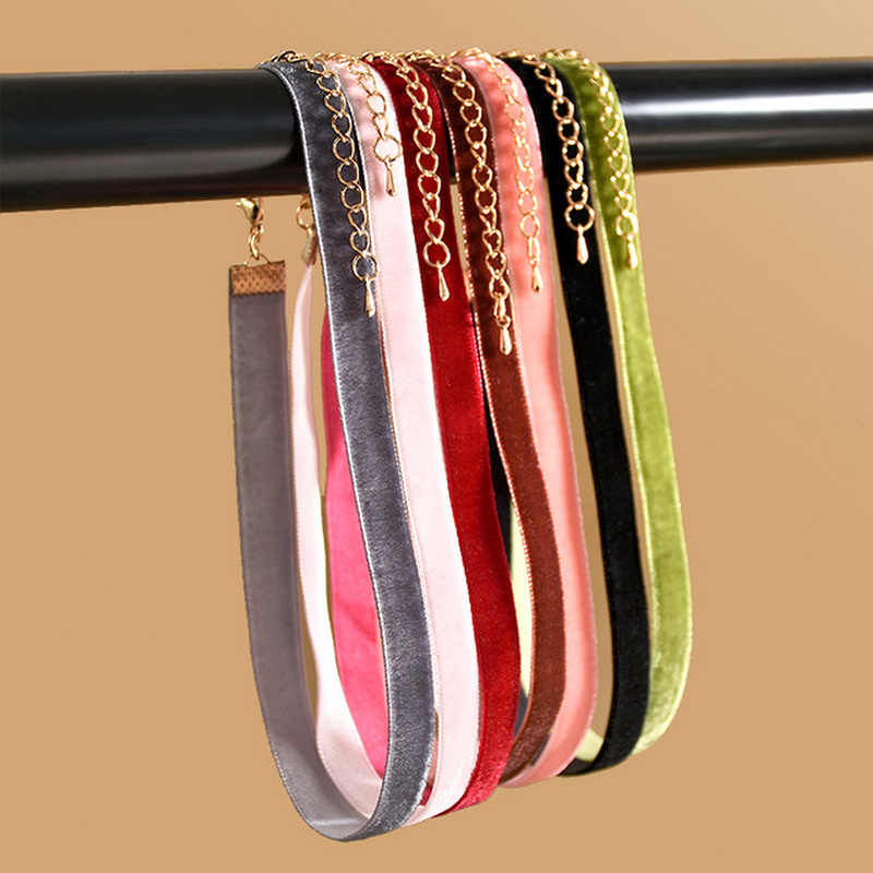 Original New Fashion Korean Colorful Velvet Strip Choker Necklace Female Retro Gothic Collar Necklaces For Women Jewelry Gift