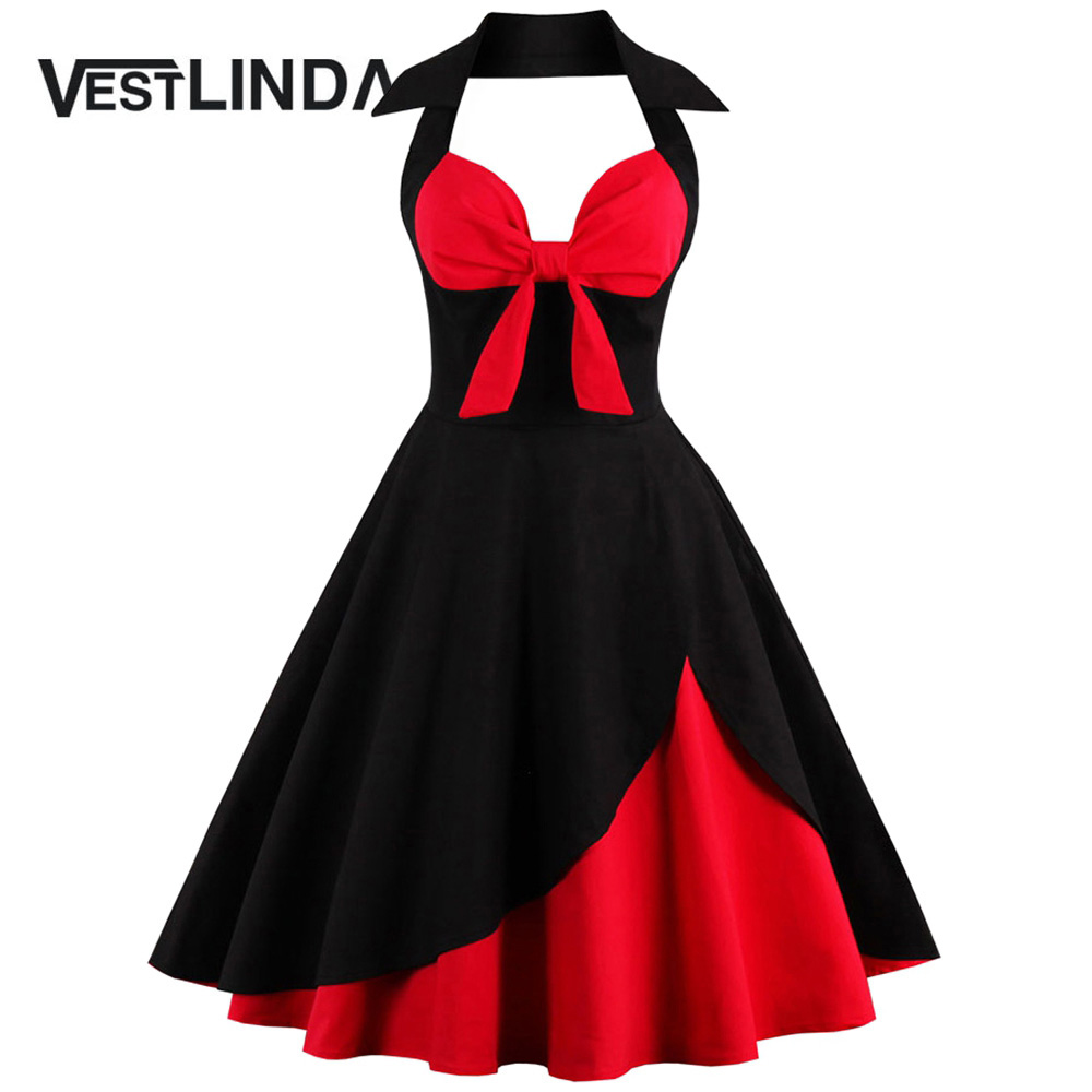 Buy Cheap VESTLINDA Vintage 50s 60s Rockabilly Summer Dress 2017 Sexy Halter Women Dress Robe Plus Size Pin Up Retro Party Dresses Vestido