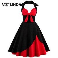 VESTLINDA Vintage Summer Dress Women 2017 Sexy V Neck Halter Sleeveless Dress Retro Plus Size Pleated