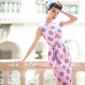 Le Palais Vintage 2016 Autumn New Pink Purple Big Dots Sleeveless O Neck Accept Waist Was Thin Keen Length Dress Women Clothing