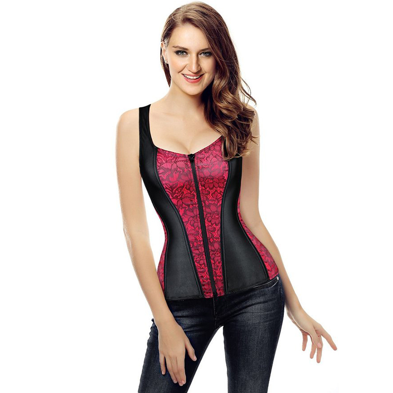 Image 3 - Women Corset 2019 New Vest Tops Fashionable Bustier Corselet Overbust Red Black Corset With Straps Satin Sexy Lingerie 2928-in Bustiers & Corsets from Underwear & Sleepwears