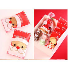 Sweet Wedding Birthday Candy Party Gusset Packaging Bag 100PCs Christmas Santa Claus Gift Bags Box Holder Clear Cookie bags(China)