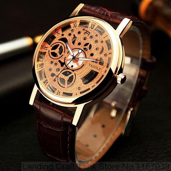 841c21c5fa1 Relógio Esqueleto Homens YAZOLE 2018 Top Famosa Marca De Luxo Masculino  Relógio Homem De Quartzo-