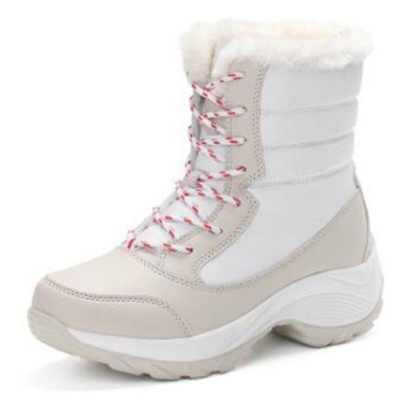 Invierno Nieve Versátil Para Terciopelo Con red Impermeables Marea Estudiantes Zapatos white Mujeres Nuevo De 2019 La blue Algodón Las Botas Black Los f67z5qx