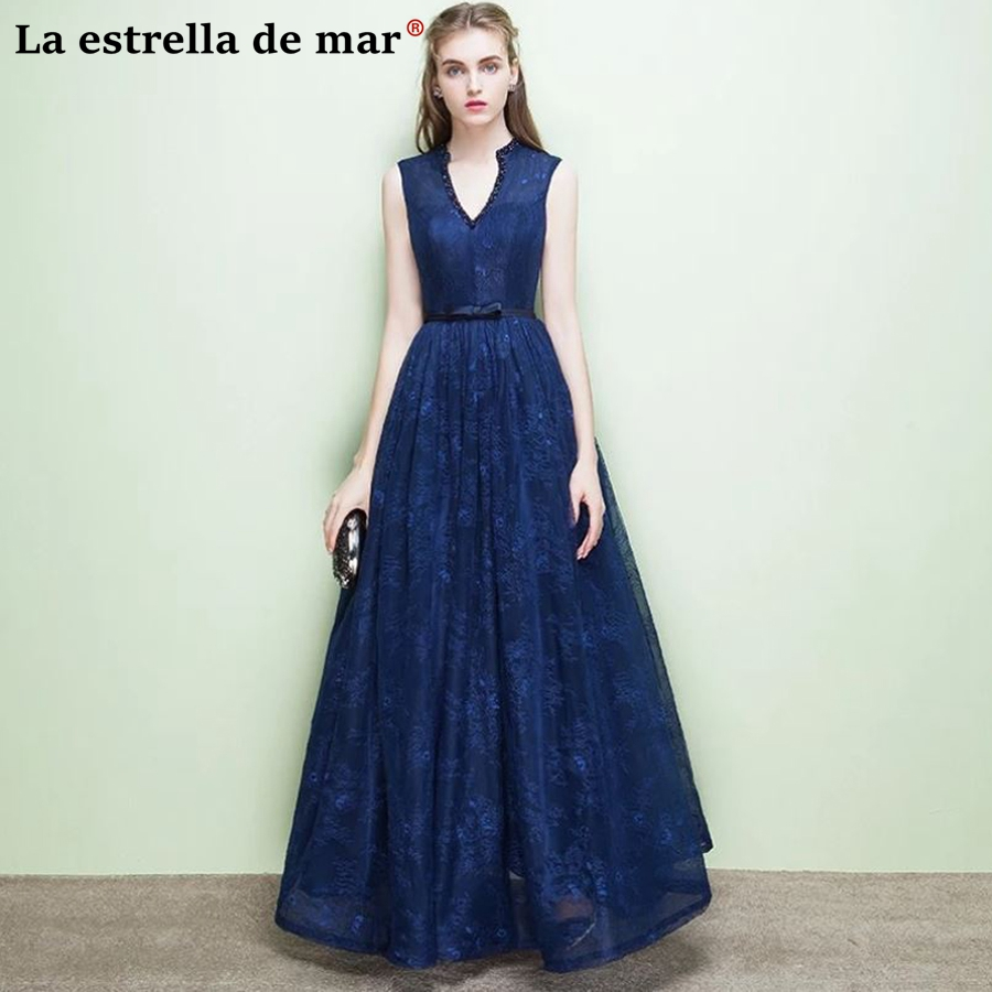 Vestidos de festa vestido longo para casamento2018 new sexy v neck crystal a Line navy blue red blush powder   bridesmaid     dresses