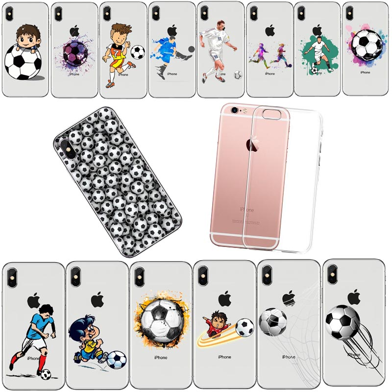 Football Soft TPU Silicone Case Cover For iPhoneX 8 8Plus 7 7Plus 6 6SPlus 5S SE Personality Football Soccer Cartoon cCover