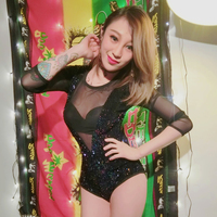 DS Costumes New DJ Female Singer Sexy Conjoined Perspective Sequins High Waist Stage Clothes Dj Bodysuit Rhinestone Jumpsuit