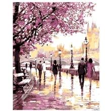 AZQSD Bild Auf Wand Ölgemälde Durch Anzahl Schöne Sakura Lane Wohnkultur Abstrakte Zeichnung Hand Einzigartige Geschenke 40×50 cm szyh196