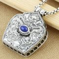 Thai silver 925 sterling silver pendants  Silver silver tibetan gau box pendant Nepal imported lapis lazuli pendant