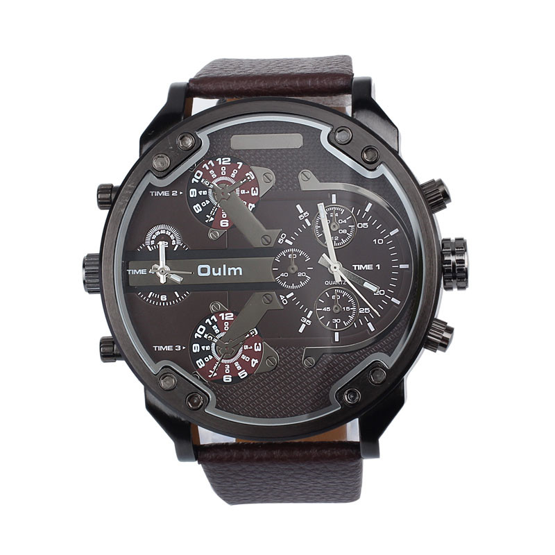 New 2016 Fashion Quartz Watch Luxury Military Army Dual Time Quartz Large Dial Wrist Watch Oulm  Relogio Masculino Wristwatches oulm 3548 authentic mens 5 5cm large dial watches leather band dual time japan movt quartz watch relogio masculino grande marca