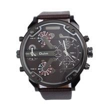 New 2016 Fashion Quartz Watch Luxury Military Army Dual Time Quartz Large Dial Wrist Watch Oulm