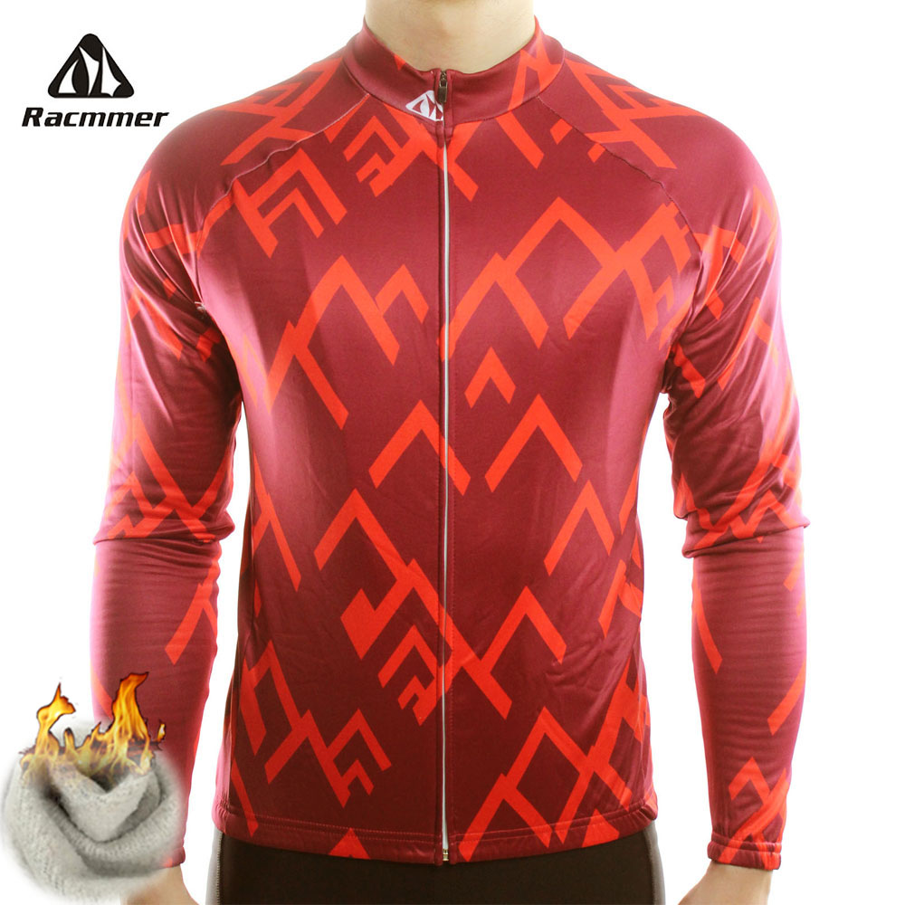 Racmmer Warm 2019 Pro Winter Thermal Fleece Cycling Jersey Ropa Ciclismo Mtb Long Sleeve Men Bike Wear Clothing Maillot #ZR-15