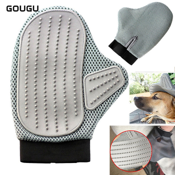 1PC GOUGU Pet Dog Cat Cleaning Bath Removal Brush Comb Soft Rubber Massage Gloves Breathable Shampoo Grooming Tools Grey Color