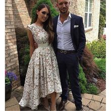 Champagne Lace Prom Dresses High Low Girls Imported Party Dress A-Line Robe De Soiree Formal Women Evening Gowns New 2017