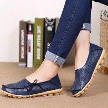 2016 Women Loafers Lady Ballerina Flat Shoes Woman Summer Flats Hollow Out Comfortable Soft Genuine Leather Moccasins size 34-44
