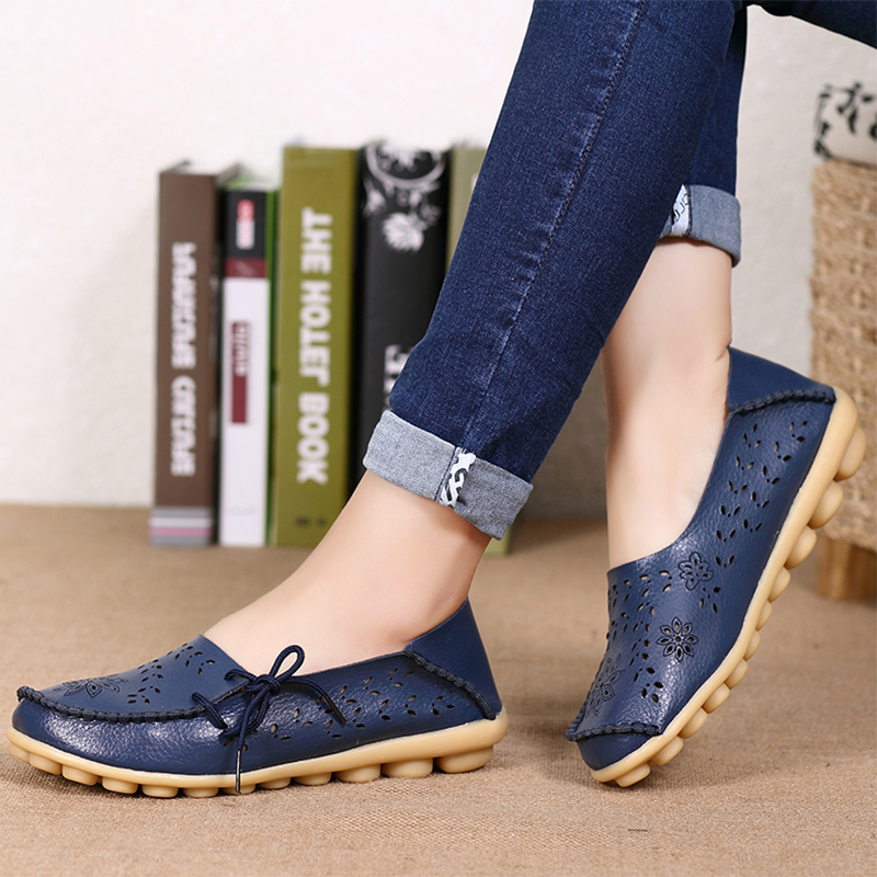 2017 Women Loafers Lady Ballerina Flat Shoes Woman Summer Flats Hollow Out Comfortable Soft Genuine Leather Moccasins size 34-44 купить
