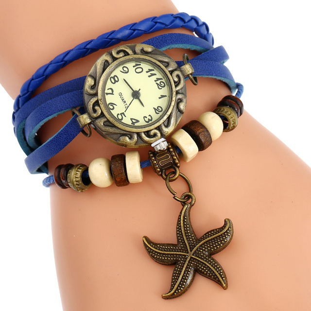 Gnova Platinum Indian ethnic Bracelet Watch Sea star charm Vintage Genuine Leath