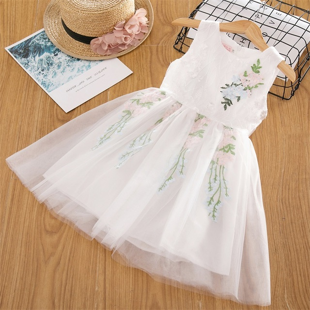 Baby Girl Floral Lace Mesh Princess Tutu Dress Children Hollow Out Wedding Christening Gown Dress For Kids Party Wear Vestidos 5