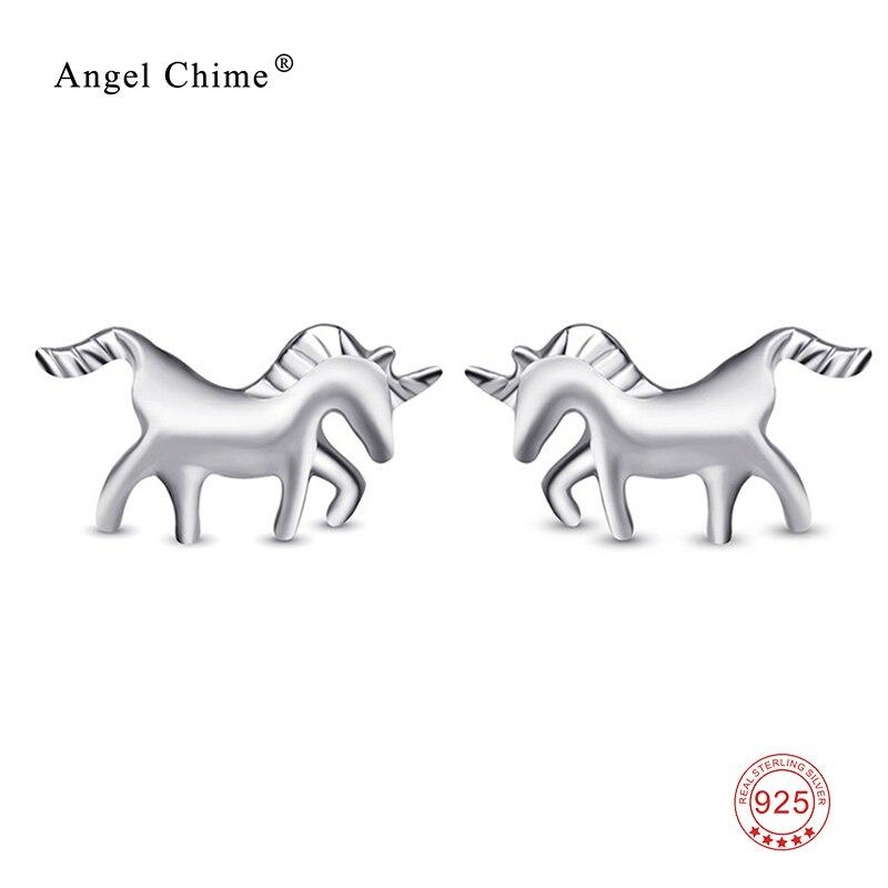 89a10d4fa 100% 925 Sterling Silver Fashion Unicorn Stud Earrings Cute Horse Earring  Jewelry For Women Girl Gift -in Stud Earrings from Jewelry & Accessories on  ...